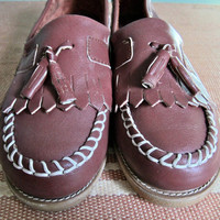 FINAL SALE vintage mocassins/ vintage boat shoes/ tassle toe loafers womens sz 7