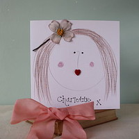 Personalised Hair Clip Birthday Card