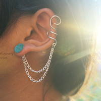 Silver (or Gold) Blue Crystal Ear Cuff Earring