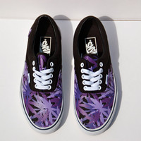 "Vintage Deadstock ""Peace Leaf"" Vans - Rare - Purple/Black Pot/Marijuana Leaf Vans"