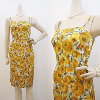 50s Dress Vintage Yellow Rose Taffeta Cocktail Wiggle Sundress XS