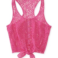 Cropped Tie-Front Lace Woven Tank - Aeropostale