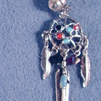 Dream Catcher Turquoise Red Blue Silver Charms Feathers 316L Navel Belly Ring