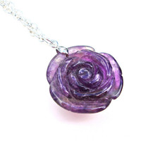 Amethyst rose pendant - carved rose necklace - carved stone pendant - amethyst pendant by Sparkle City Jewelry