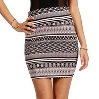 Tan/Black Tribal Print Mini Skirt