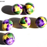 Purple Violet Flowers on Round Yellow Beads Handmade Polymer Clay