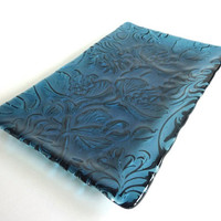 Fused Glass Art Nouveau Imprinted Tray in Steel Blue