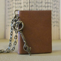 Mini Leather Book Necklace with Key