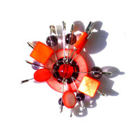 Safety pins pendant red and purple with beads and mother of pearl sun inspired  for her- one of a kind - OOAK