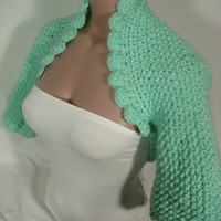 Hand knitted crocheted (Mint Green) short sleeve bolero shrug by Arzu&#x27;s Style