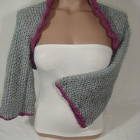 Hand knitted crocheted (Light Gray, Purple) short sleeve bolero shrug by Arzu&#x27;s Style