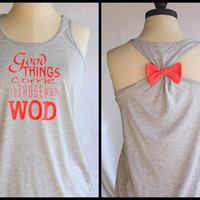 Crossfit WOD Bow Tank Top Flowy - SMALL