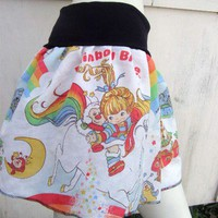RAINBOW BRITE TuTu Skirt S-XL made with vintage rupurposed fabric