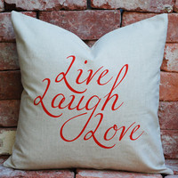 Cushion Cover Linen Cotton Red Live Laugh Love 45x45cm Natural Colour