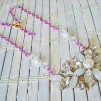 Milk Glass Rhinestones  / Eco Friendly  / Statement Necklace