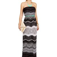 Pre-Order: Blk/Wht/Gray Tribal Maxi Dress