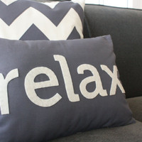 Relax Pillow in Charcoal Gray by HoneyPieDesign on Etsy