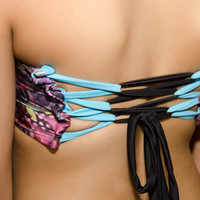 Scrunch front bandeau with corset back- Cherokee Feather print