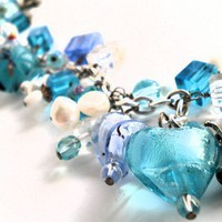 Whimsical Blue Lampworked Bracelet, Pearls, Crystals, hearts