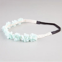 Full Tilt Chiffon Flower Pearl Headband Mint One Size For Women 21182852301