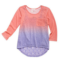 GB Girls 7-16 Ombre 2-Fer Top with Lace | Dillards.com