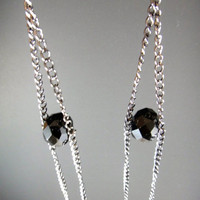 Extra Super Long Chain Earrings with Black Glass Bead by njjewel