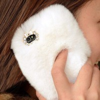 Handmade White Furry Rhinestone iPhone 5 Case for Winter