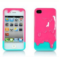 Pink 3d Melt Ice cream Skin Hard Case Cover for Apple Iphone 4 and 4s Protect Cell: Cell Phones & Accessories
