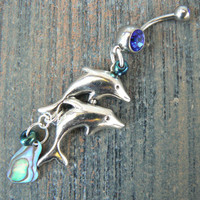 double dolphin and abalone belly ring dolphins abalone in beach boho gypsy hippie belly dancer beach hipster and fantasy style