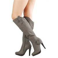 Anne Michelle Motive04 Gray Heel Strap Nubuck Knee High Boots and Womens Fashion Clothing & Shoes - Make Me Chic