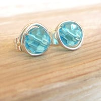 Marine Blue Stud Earrings  Sterling Wire Wrapped by contempojewels