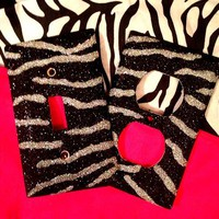 Glittered Black & Silver Zebra Outlet/Light Switch Set