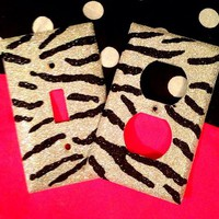 Glittered Silver & Black Zebra Outlet/Light Switch Set