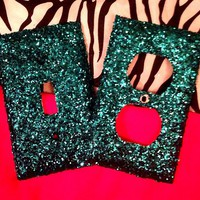 Glittered Turquoise Outlet/Light Switch Set