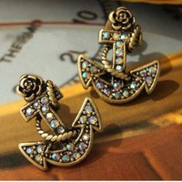 Retro Anchor Rhinestone Earrings