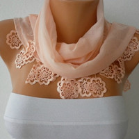 Etsy - WAS 15, NOW USD 11 ---- Salmon Scarf  - Cotton  Scarf - Headband Necklace Cowl with Lace Edge /76939691  -