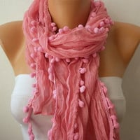 Etsy -Pink Women Shawl Scarf - Headband Necklace Cowl