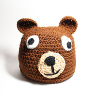 Brown bear beanie- Women's brown winter hat- Crochet animal beanie.
