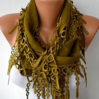 Etsy -Olive Green Scarf -  Pashmina Scarf  - Headband Necklace Cowl with Lace Edge