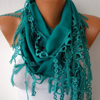 Etsy - Teal Scarf  -  Pashmina Scarf  - Headband Necklace Cowl with Lace Edge