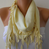 Etsy -Light Yellow Scarf - Pashmina Scarf - Headband Necklace Cowl with Lace Edge