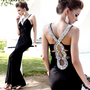 Unique Rhinestone Slim Long Dress