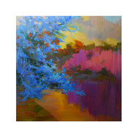 ready for hanging fine art Giclee Print - Sunny Evening in Garden from my original oil painting by Yuri Pysar