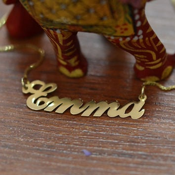 18K Yellow Gold Plated Sterling Silver Name Necklace