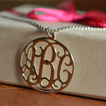 Sterling Silver Circle Monogram Necklace