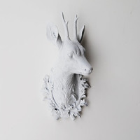 Faux Deer Head - Faux Taxidermy - The Amalia - Small White Resin Deer Head- White Deer Antlers Mounted