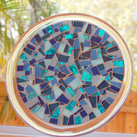 Teal Mosaic Trivet, Candle Holder