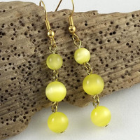 Yellow Cat's Eye Dangle Beaded Earrings by theotherstacey on Etsy