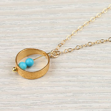 """Gold ring necklace, turquoise circle necklace, bridal necklace, 14k gold filled, everyday simple necklace, delicate,""""Rhode"""" Necklace"""