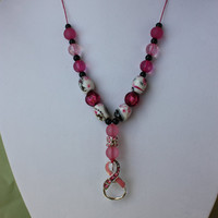 Pink Ribbon Breast Cancer Awareness Necklace Pink Beaded Necklace